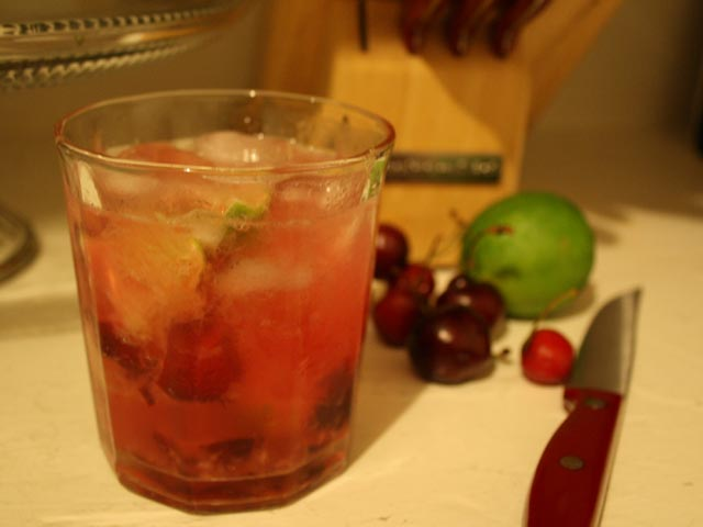 Sour Cherry Caipirinha Recipe — Dishmaps