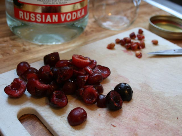 Homemade cherry-infused vodka